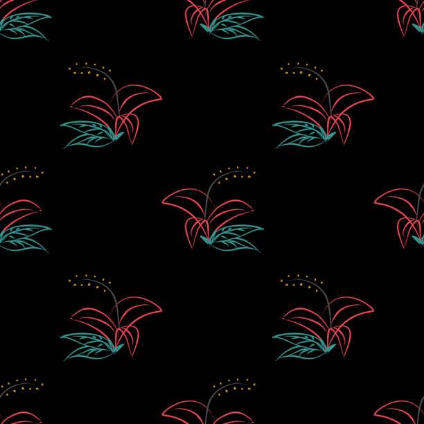 bildbanksillustrationer, clip art samt tecknat material och ikoner med handritade sömlösa mönster med blomma blommig tema bakgrund vektor illustration. skandinavisk mode stil redo för textil tryck och omslag. - swedish nature