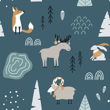 Hand drawn seamless pattern with fox, goat, elk and rabbit in forest. Scandinavian christmas design. Good for fabric, textile. Vector wallpaper.