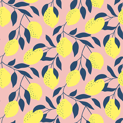 Hand drawn seamless pattern with fresh lemons. Colorful summer wallpaper . Citrus fruits collection. Vector background. Good for printing.