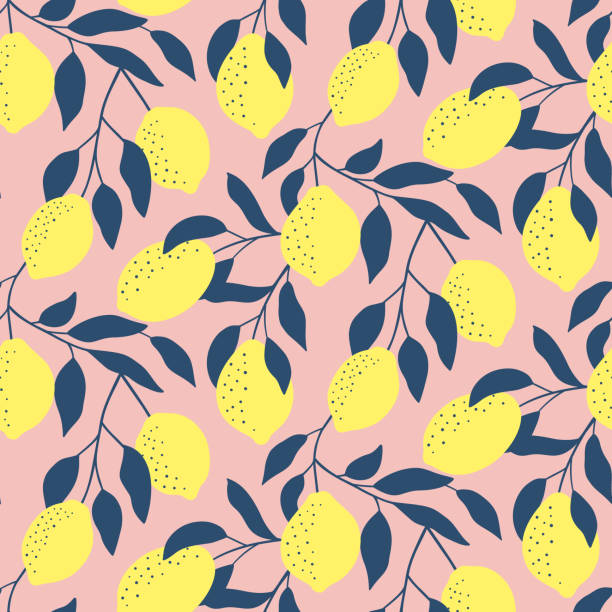 Hand drawn seamless pattern with fresh lemons. Colorful summer wallpaper . Citrus fruits collection. Vector background. Good for printing. Hand drawn seamless pattern with fresh lemons. Colorful summer wallpaper . Citrus fruits collection. Vector background. Good for printing. lemon fruit stock illustrations