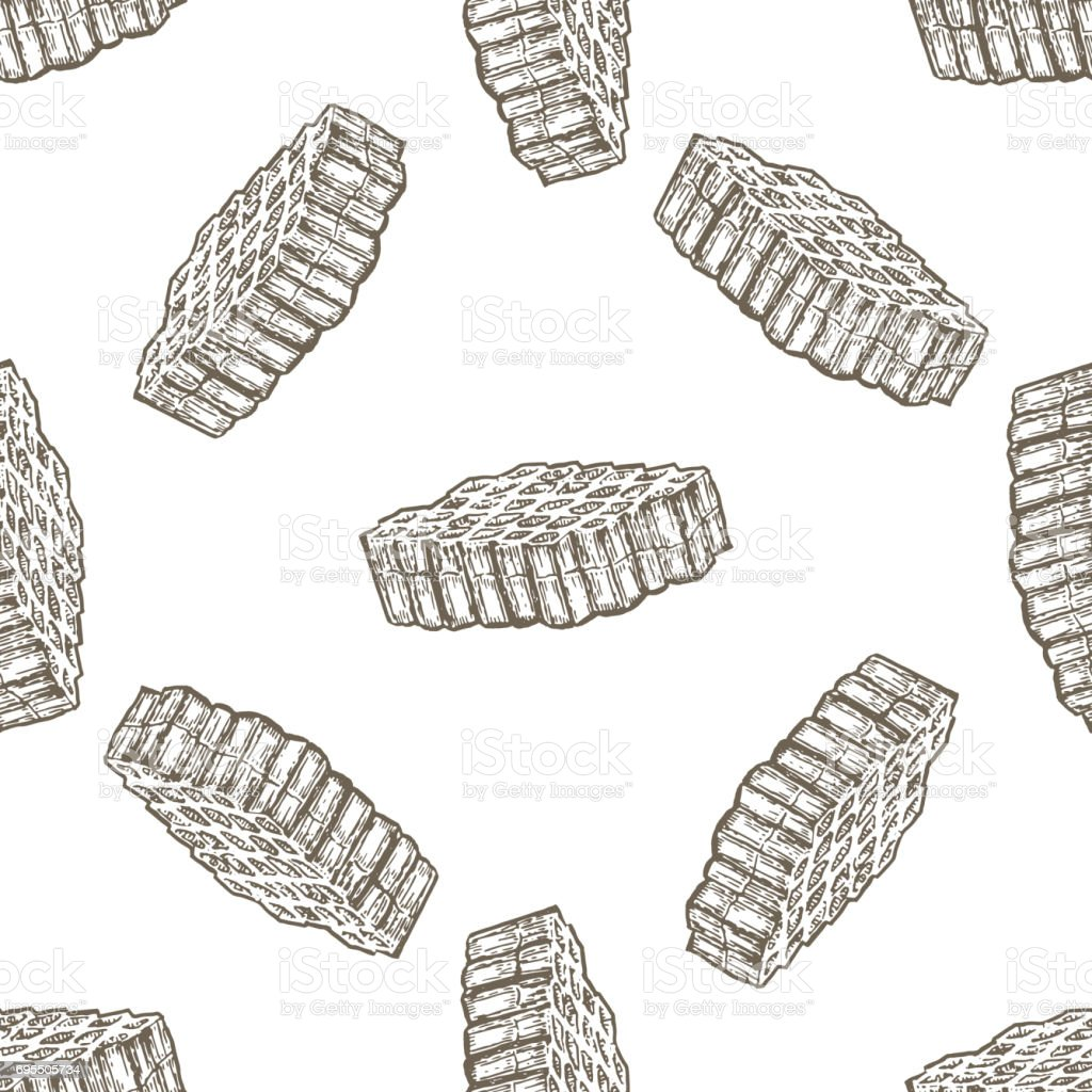 Hand drawn seamless pattern with honey comb over white background vector art illustration