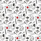 Hand drawn seamless pattern with Japan culture elements