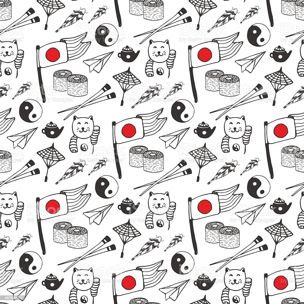 Dibujados a mano patrón sin costuras con Japón cultura elementos de - ilustración de arte vectorial