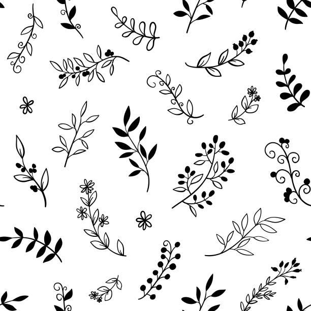 繪製無縫模式與葉的手,分支。向量婚禮、 自然、 質樸的紙,白色背景上。 - 葉狀花紋 幅插畫檔、美工圖案、卡通及圖標