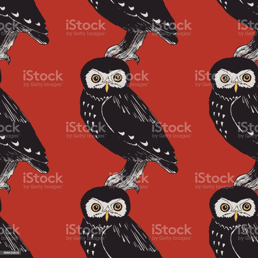 Hand drawn seamless pattern with owls. vector art illustration