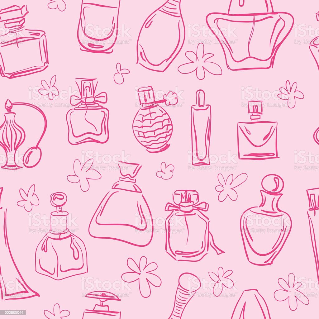 Hand drawn seamless pattern with pink contour perfume bottles