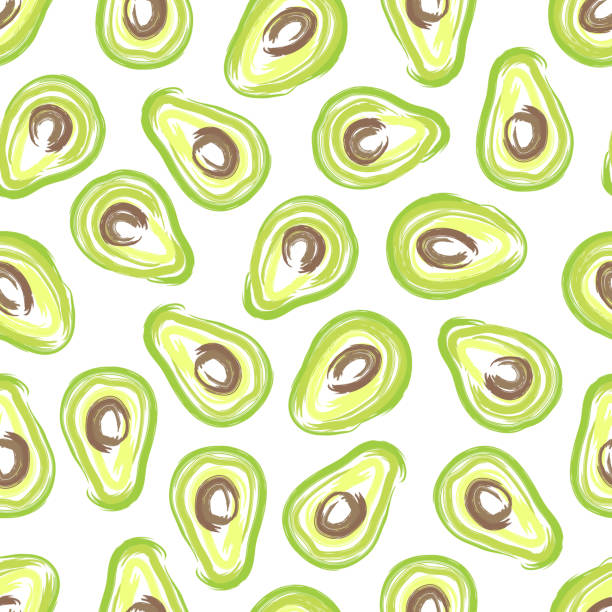 Hand drawn seamless pattern with slices of avocado. Ready seamless avocado pattern in bright colors. avocado patterns stock illustrations