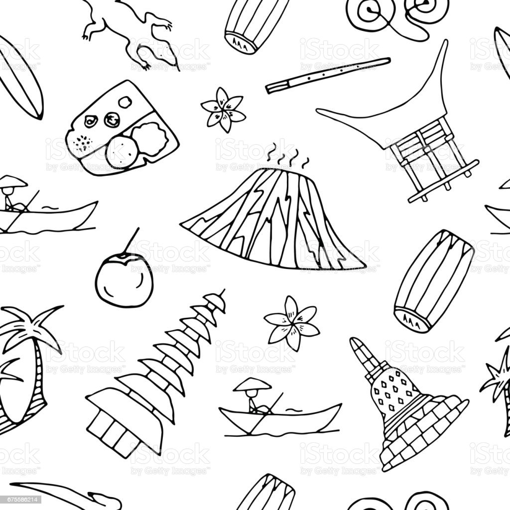Hand drawn seamless pattern with symbols of Indonesia. vector art illustration