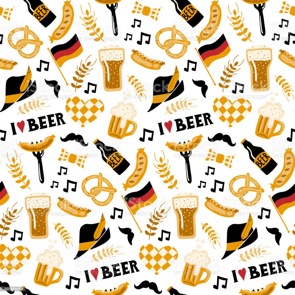 Hand Drawn Seamless Pattern With Traditional Beer Fest Attributes On White Background Craft Beer Print Doodle Style Vector Repeating Wallpaper Stock Illustration Download Image Now Istock