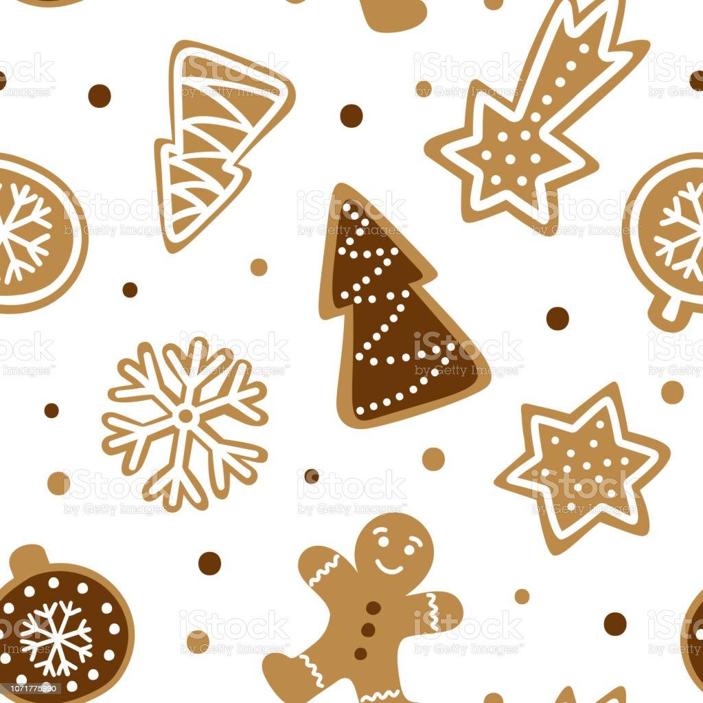 手伝統的なクリスマス クッキーに描かれたシームレス パターンかわいい