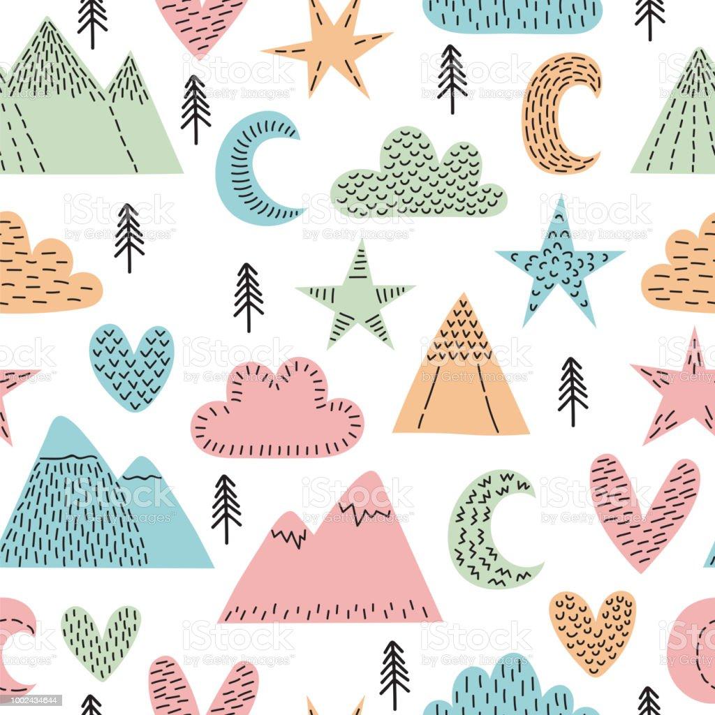 Ilustración de Mano Dibujada De Patrones Sin Fisuras Con árboles ...
