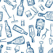 Hand drawn seamless pattern with various alcohol bottles. Vector cognac and whisky, absinthe and vodka, tequila and rum illustration