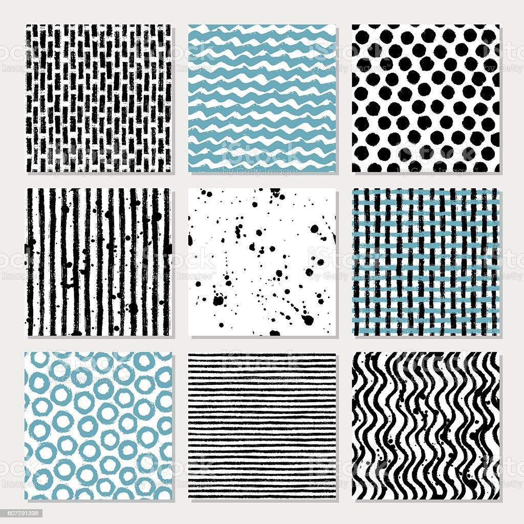 9 hand drawn seamless patterns vector art illustration