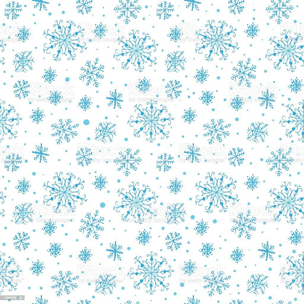 Disegno A Mano Seamless Fiocchi Di Neve Su Sfondo Bianco