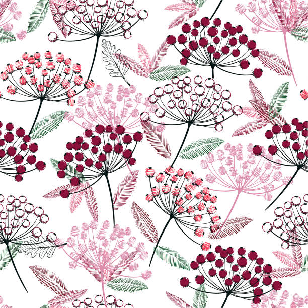 Hand drawn seamless vector pattern. Fall/winter line flowers and berries design for fashion,fabric.wallpaper and all prints vector art illustration