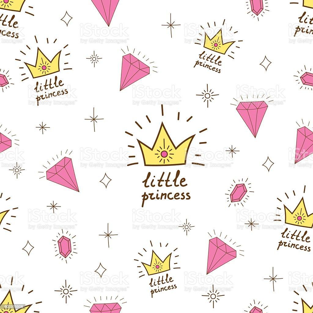 Hand drawn seamless vector pattern for girl little princess. vector art illustration