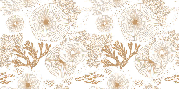 Hand drawn seamless vector pattern. Gold corals and algae on a white background For printing, fabric, textile, manufacturing, wallpapers. Sea bottom. marine life stock illustrations