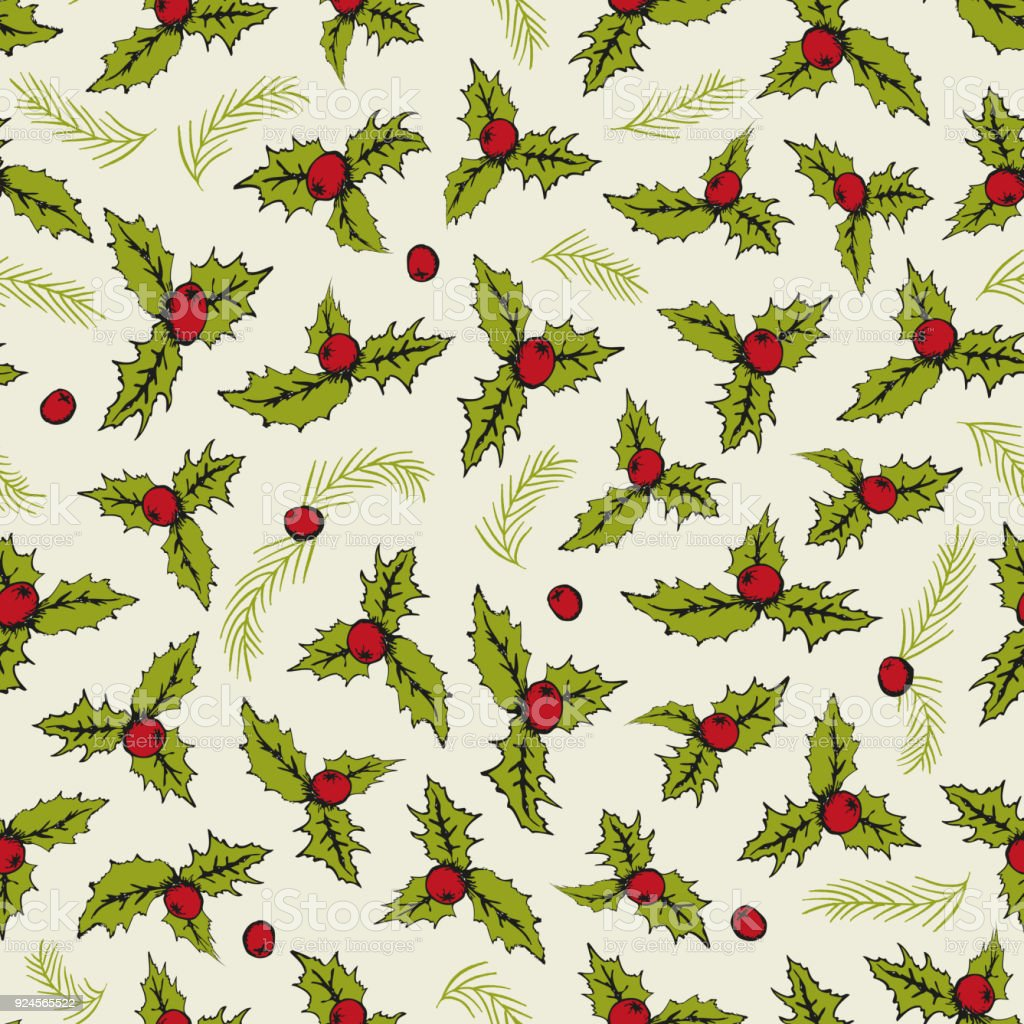 Hand drawn seamless vector pattern of branches and leaves. Christmas background of misletoes. vector art illustration