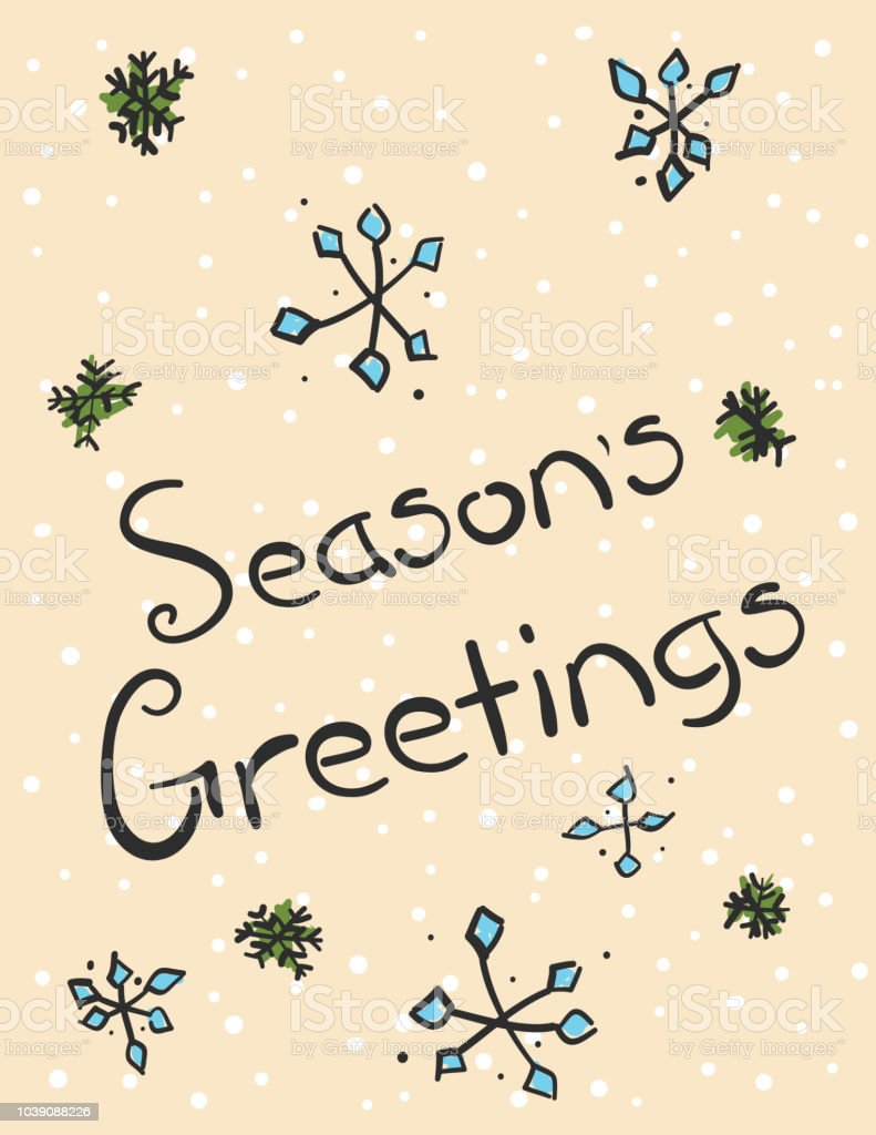 Hand Drawn Seasons Greetings Card Stock Vector Art More Images Of