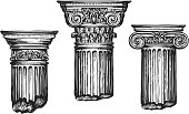 Hand drawn set architectural classical orders. Sketch vector illustration