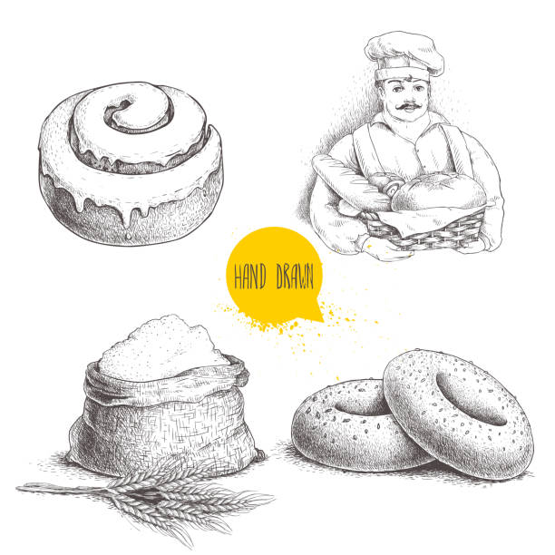 hand drawn set bakery illustrations. baker with  fresh bread, sesame bagels, iced sweet cinnamon bun and sack with whole flour with wheat bunch. - cinnamon roll stock illustrations, clip art, cartoons, & icons