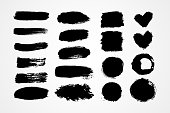 Hand drawn set brush strokes vector illustration. Black white paint blobs and daubs artistic backgrounds. Grunge texture scribbles