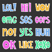 Hand drawn set, doodle text words - lol, hi, wow, omg, sos, oops, no, yes, huh, ok, like, xoxo. On dark background. Vector image