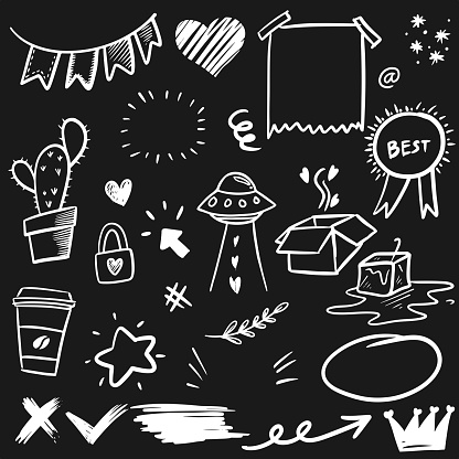 Hand drawn set elements, for concept design. doodle abstract isolated on black background . vector illustration.
