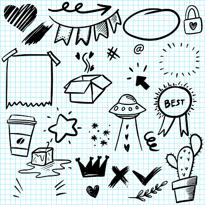 Hand drawn set elements, for concept design. doodle abstract isolated on paper background . vector illustration.
