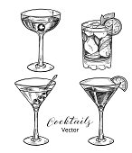 Set of hand drawn alcoholic cocktails, vector illustration.