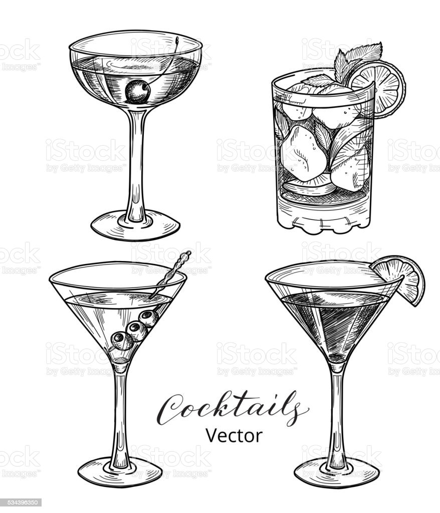 Hand drawn set of alcoholic cocktails vector art illustration
