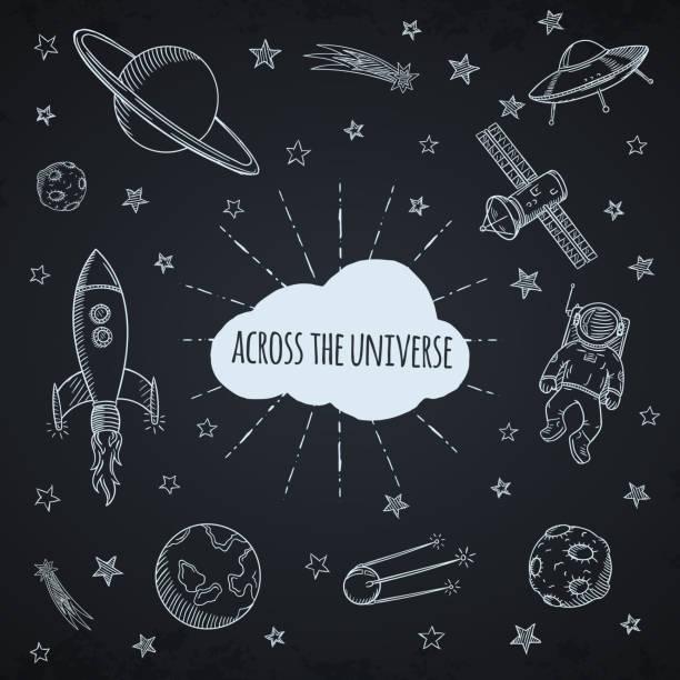 нарисованный от руки набор каракули астрономия. - space background stock illustrations