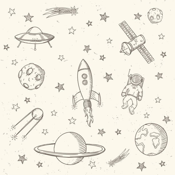 손 드로잉 세트 of 천문학 doodles. - kids drawing stock illustrations