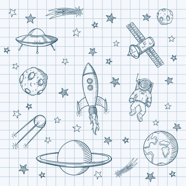 Hand drawn set of astronomy doodles. vector art illustration