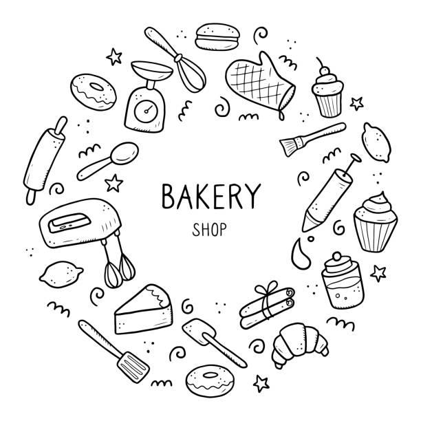 ilustrações de stock, clip art, desenhos animados e ícones de hand drawn set of baking and cooking tools - baking bread at home