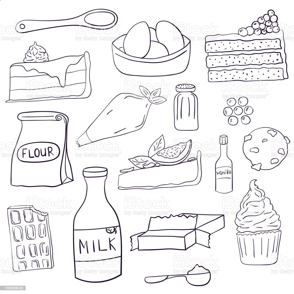 Hand drawn set of baking ingredients and desserts. Cake, chocolate and cookie. Vector illustration. vector art illustration