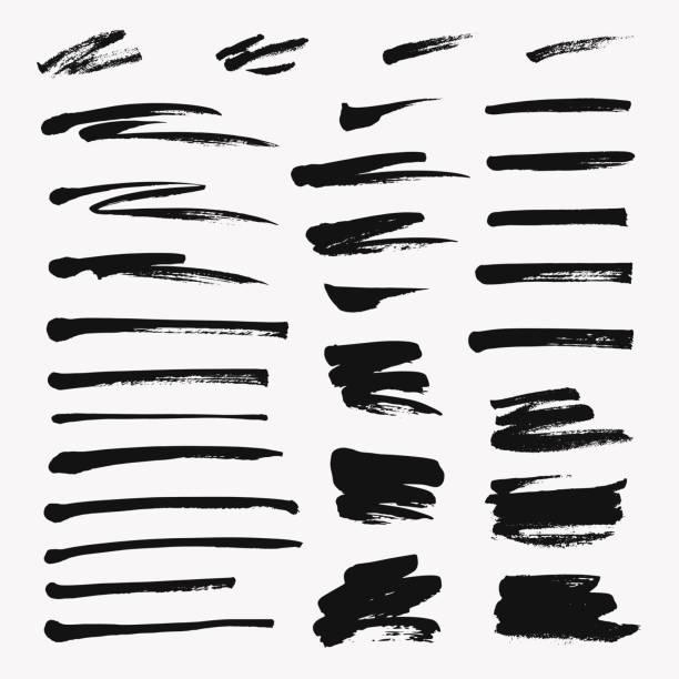 hand drawn set of brushstroke. vector grunge objects - paint texture stock illustrations, clip art, cartoons, & icons