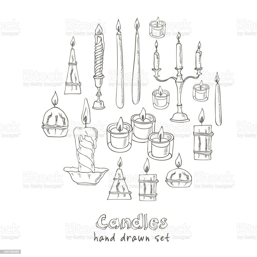 Hand drawn Set of Candles vector art illustration