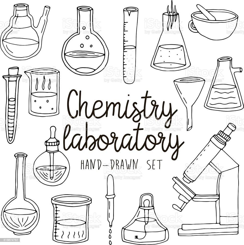 Chemistry drawings vector | Free Vector |Lab Chemist Drawings