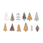 Hand drawn set of colored Christmas trees. Holidays background. Abstract doodle drawing woods.
