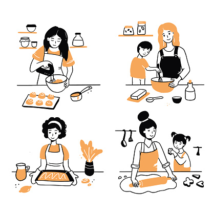 Hand drawn set of cooking people