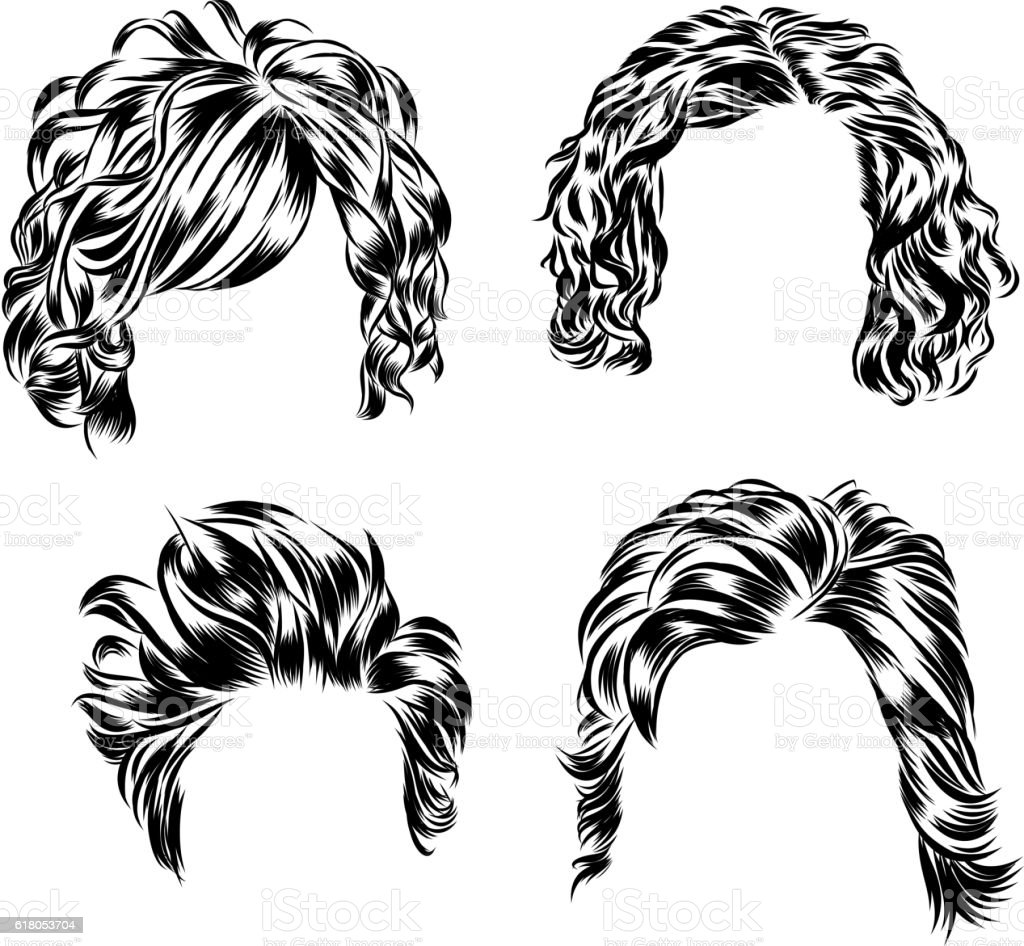 Hand Drawn Set Of Different Women S Hair Styles Stock Vector Art - Different hair style drawing