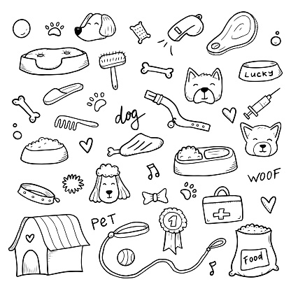 Hand drawn set of dog doodle