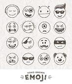 Hand drawn set of Emoticons. Set of Emoji. Smile icons.