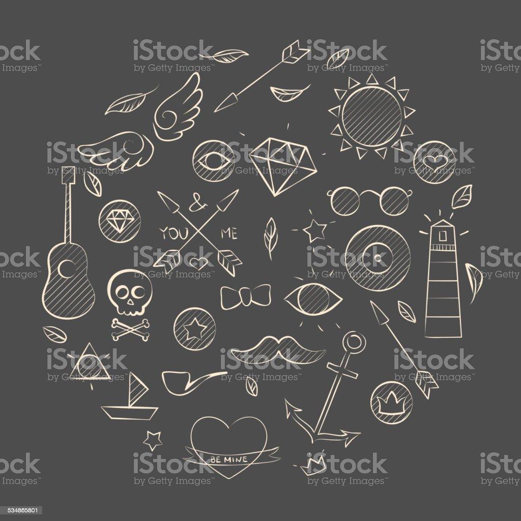 Hand gezeichnete Satz von hipster Elemente auf Braun – Vektorgrafik