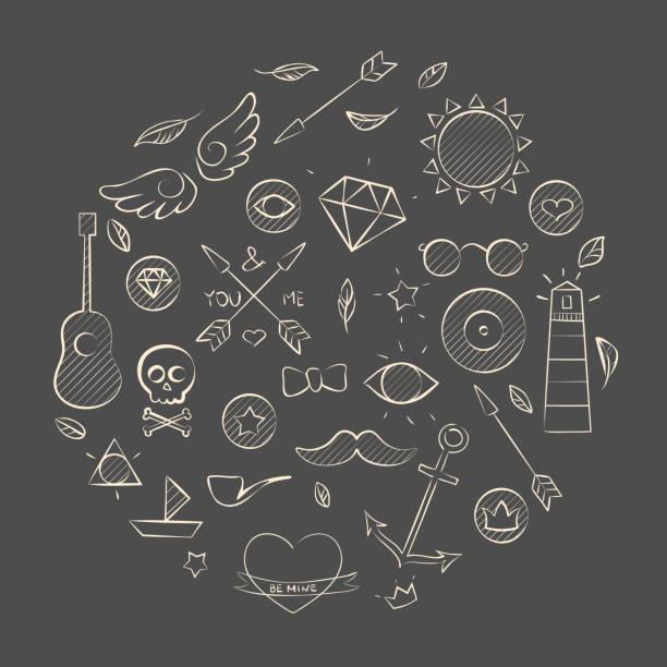 Conjunto dibujados a mano elementos hipster sobre marrón - ilustración de arte vectorial