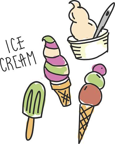 Hand drawn set of ice cream, sundae and popsicle dessert