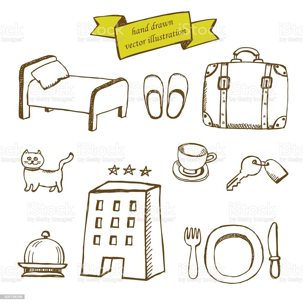 hand drawn set of icons for hotel service vector art illustration