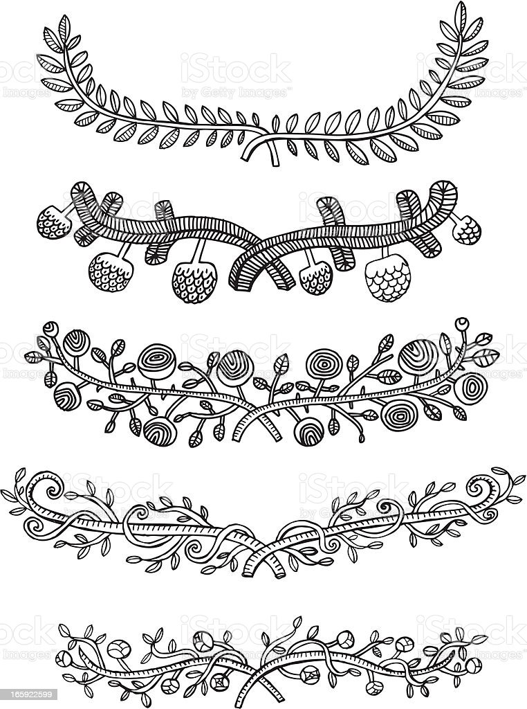 Hand drawn set of laurel wreaths, scrolls and page dividers royalty-free stock vector art
