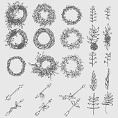 Hand drawn  set of laurels, branches and wreaths. Doodle  wreath